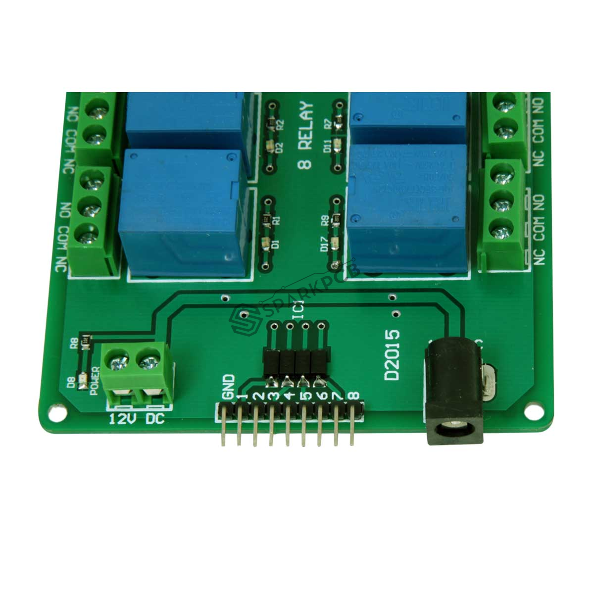 8 Channel 12v Relay Module Board Sparkpcb Com
