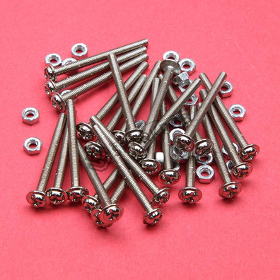 3x35mm Phillips Pan Head Machine Screws with Nut 25Pcs