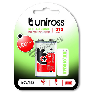 Uniross 9V Rechargeable Hybrio 210 mAh Ni-Mh PP3 Battery